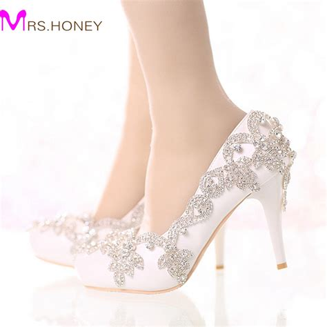Wedding Shoes Color by Exquisite Rhinestone Bridal Shoes Pointed Toe And