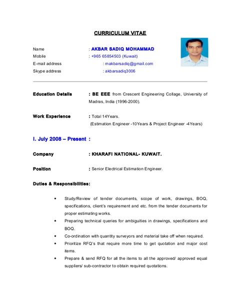 Resume Format Pdf For Engineering Freshers by Cv Electrical Estimation Engineer