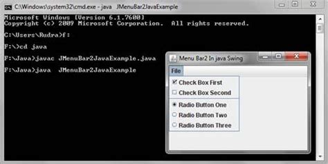 java swing menu bar menubar exle in java swing