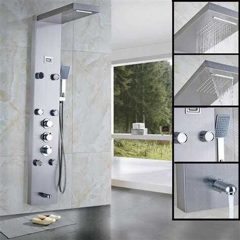 Discount Kitchen Faucet rain waterfall shower panel 6pc massage jets thermostatic
