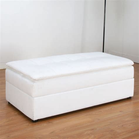 white leather ottoman storage modern ottomans bench