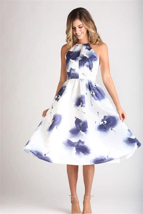 Flower Flare Drezz morning lavender floral white navy fit and flare dress