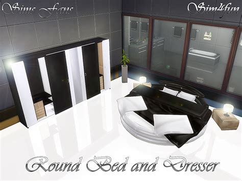 Sims 4 Round bed and Dresser