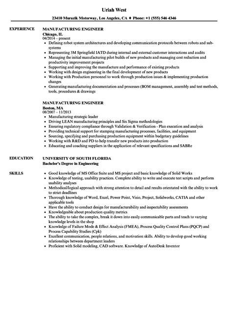 Manufacturing Engineer Resume by Manufacturing Engineer Resume Sles Velvet