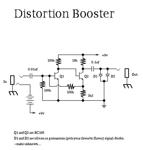 transistor lifier distortion guitar distortion schematic electronic schematics guitars instruments and audio