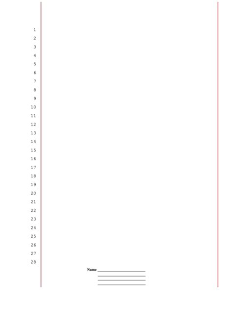 Blank Legal Pleading Paper 28 Lines Red Lines Personalized Printable Pdf Download Docs California Pleading Template