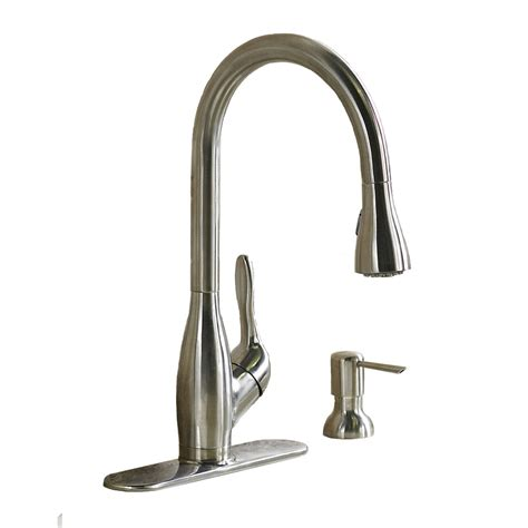 kitchen faucets stainless steel shop aquasource stainless steel pull kitchen faucet at lowes