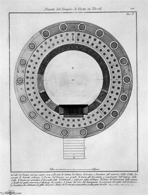 Plano del Templo de Vesta en Tívoli de Giovanni Battista
