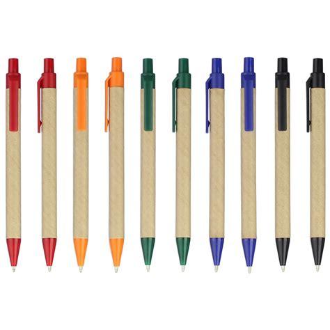 lot 50pcs eco paper pen plastic clip green concept