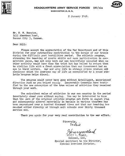 letter of appreciation us army letter of appreciation to bill hargiss 1945