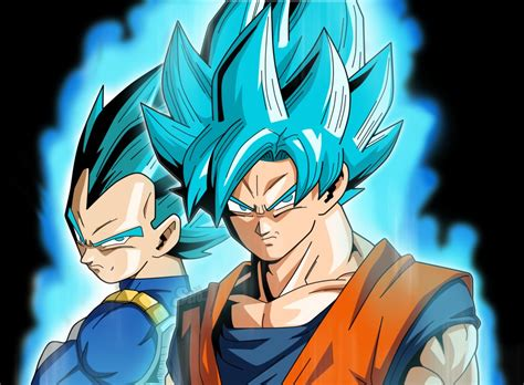 imagenes goku ssj blue goku y vegeta ssj blue con trajes clasicos dragon ball
