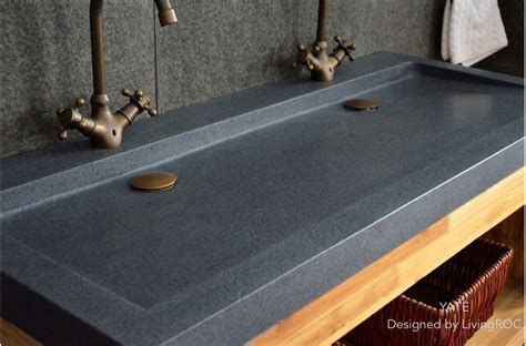"47"" x 19"" Trendy Double trough gray Granite Stone Double"