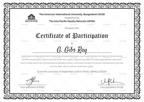 free choir certificate of participation template in psd ms word