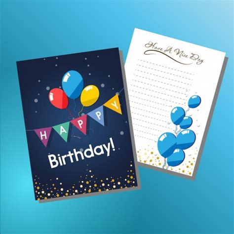 birthday card template adobe illustrator birthday card template colorful ribbon balloons ornament