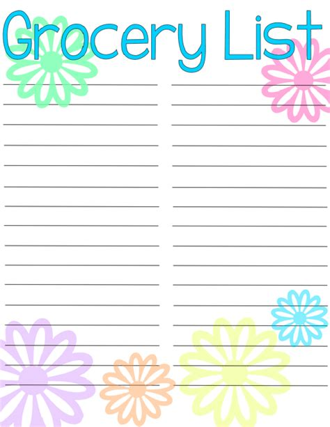 printable grocery list org grocery list free printable typically simple