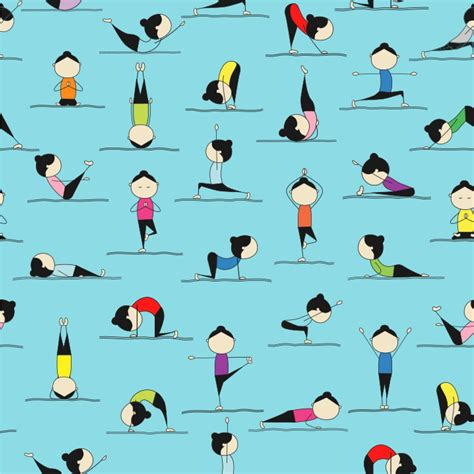cartoon yoga wallpaper yoga poses wallpaper surface covering youcustomizeit