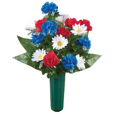 Mausoleum Flower Vases by Patriotic Veterans Flowers Bouquet Cemetery Grave In Memorial Flower Vase Ebay