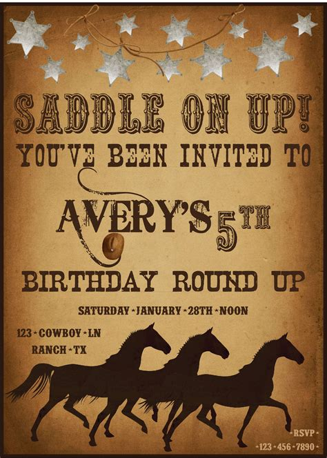 western birthday card template western invitations invitations templates
