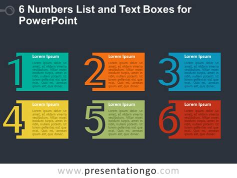 6 Numbers List And Text Boxes For Powerpoint How To Present Numbers In Powerpoint