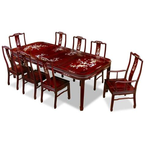 of pearl table l 96in of pearl motif rosewood dining table with 8