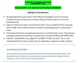 sle highlights of qualifications summary