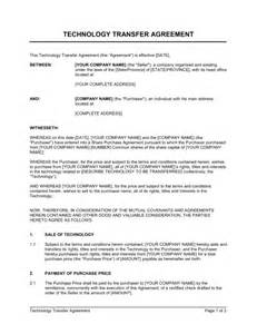 technology transfer agreement template amp sample form