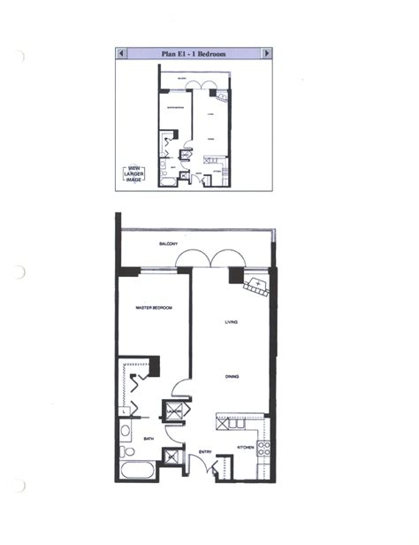 One Room Floor Plans by Discovery Floor Plan E1 1 Bedroom