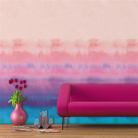 self sticking wallpaper rainbow watercolour self adhesive wallpaper by oakdene