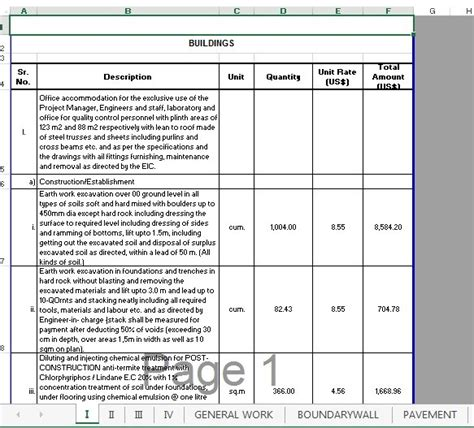 bill of quantities boq building civil engineers pk