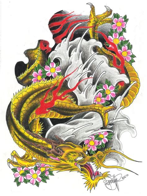 golden dragon tattoo flash hd deviantart more like japanese