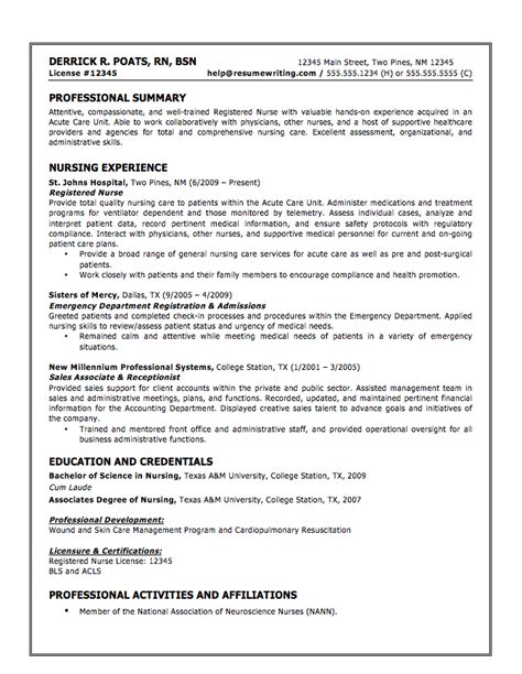 Resume Exles For Nursing Homes Sle Resumes Resumewriting