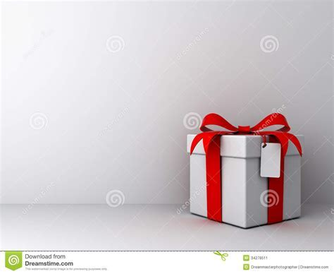 Gift Box With Red Ribbon Bow And Blank Tag On Empty White
