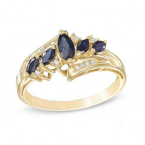 Blue Sapphire Ring V 5 marquise blue sapphire ring with accents