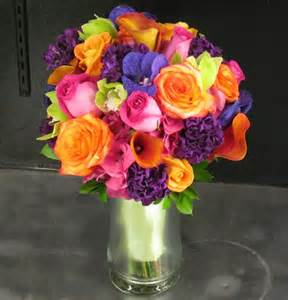 brightly colored bridal bouquet products local florist
