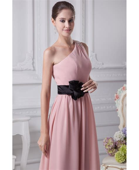 Dress Ghifa Pink 1 simple pink one shoulder beaded chiffon bridesmaid dress with black sash op4242 129