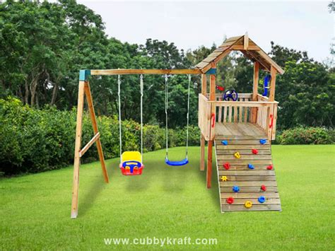 swing set cubby house bear cub cubby fort and swing set by cubbykraft