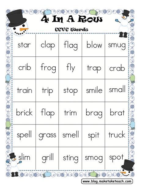 5 Letter Words Last Letter L four in a row winter themed freebie make take teach