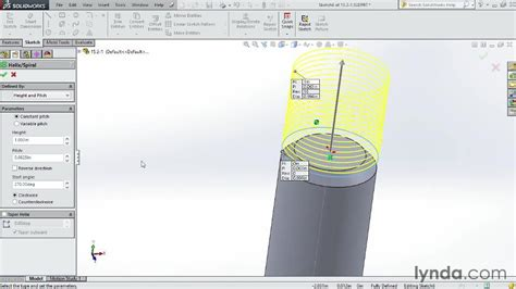 solidworks tutorial helix using a helix and swept path to create a thread from the