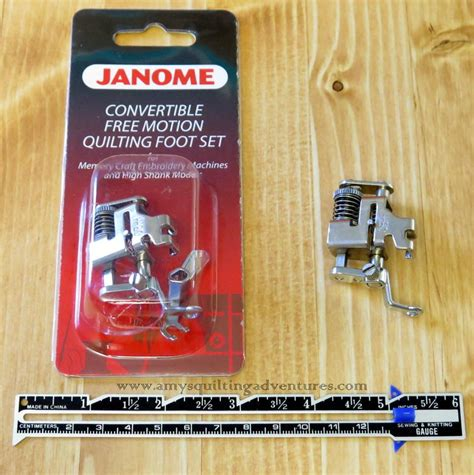janome convertible free motion quilting foot set high