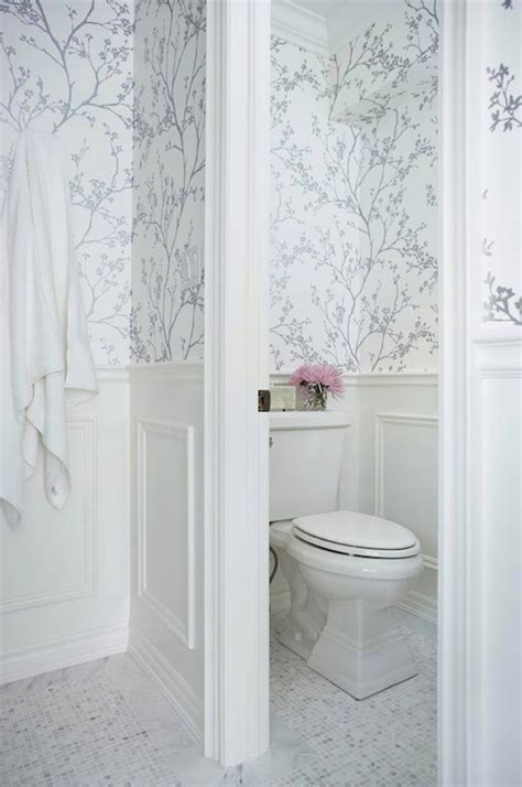 wall paper bathroom metallic silver wallpaper transitional bathroom