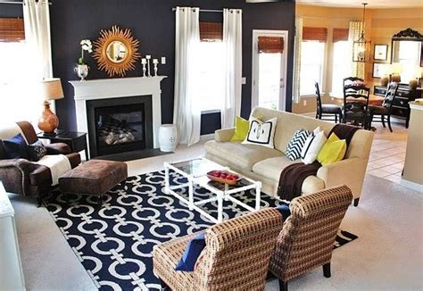 navy blue and living room
