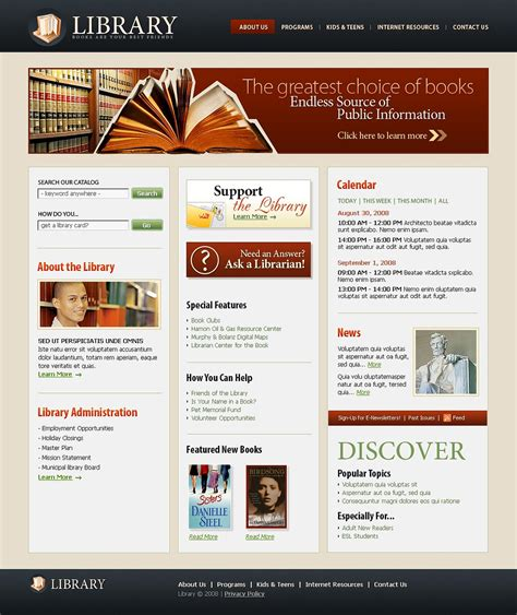 templates for library website library website template 21430