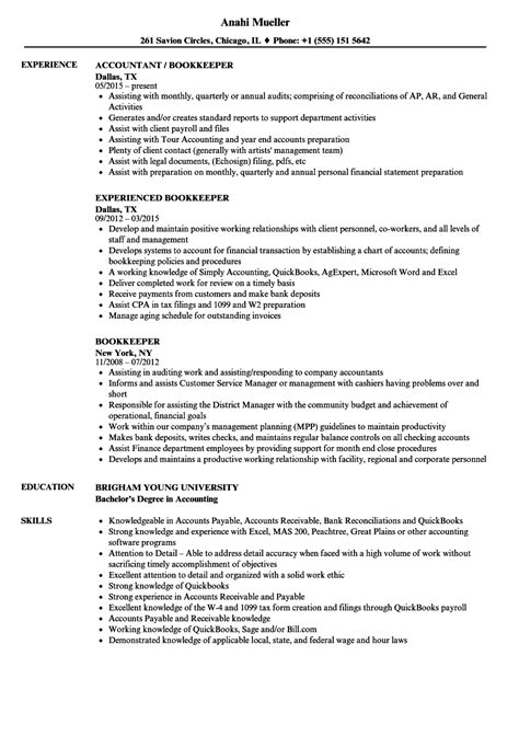 Bookkeeper Resume by Bookkeeper Resume Gallery Cv Letter And Format
