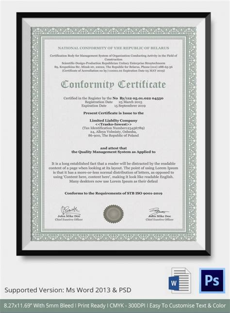 certificate of manufacture template sle certificate of conformance 19 documents in pdf