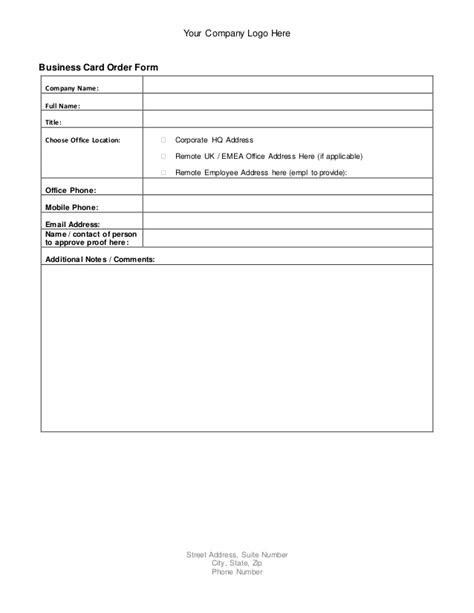 business card form template business card order form