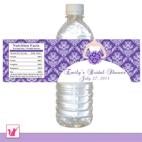 Bridal Shower Label Templates by Printable Personalized Purple Damask Bridal Shower Water