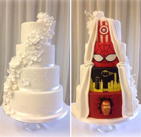 Hochzeitstorte Marvel by This Had The Best Compromise And Went With A Two