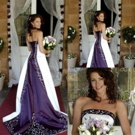 Custom Wedding Dresses Purple And White by White And Purple Wedding Dresses 2016 Pao Embroidery