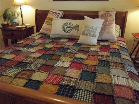 Country Patchwork Quilts For Sale - king size scrappy rag quilt