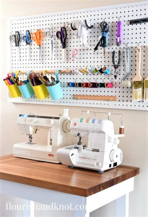 sewing room pegboard ideas craft sewing space reveal diy home decor 100 room challenge